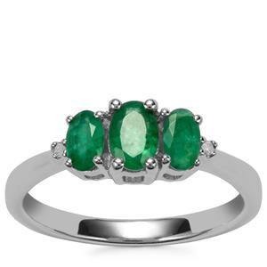 Zambian Emerald Ring with Diamond in Sterling Silver 0.81cts