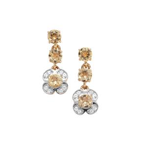 Ouro Preto Imperial Topaz Earrings with White Zircon in 9K Gold 1.24cts