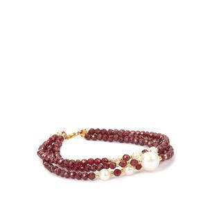 Red Garnet & Kaori Cultured Pearl Gold Tone Sterling Silver Bracelet