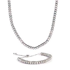 Kaori Cultured Pearl  Set of Slider Bracelet & Necklace in Sterling Silver (5.5 x 3.5mm)