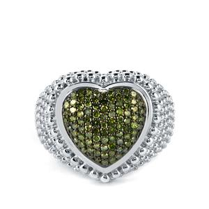 1/2ct Green Diamond Sterling Silver Ring