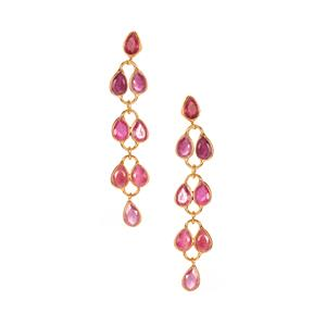 Thai Ruby Earrings in Gold Tone Sterling Silver 4cts