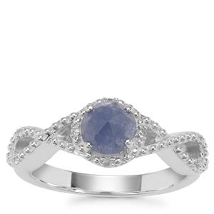 Rose Cut Bharat Blue Sapphire Ring with White Zircon in Sterling Silver 0.98ct