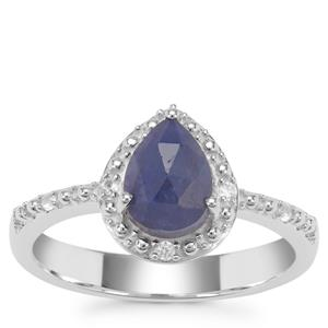 Rose Cut Bharat Blue Sapphire Ring with White Zircon in Sterling Silver 1.65cts