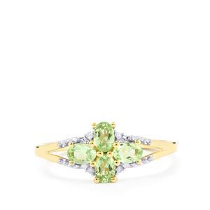 Merelani Mint Garnet & Diamond 10K Gold Ring ATGW 0.63cts