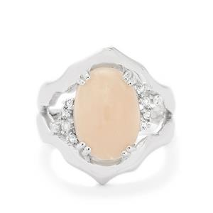 Zambezia Morganite & White Topaz Sterling Silver Ring ATGW 6.98cts