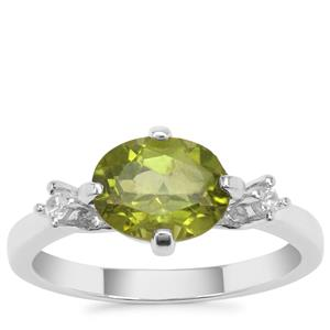 Red Dragon Peridot Ring with White Zircon in Sterling Silver 2.05cts