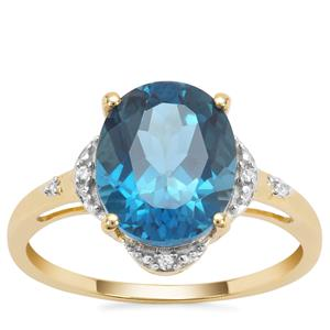 Marambaia London Blue Topaz Ring with White Zircon in 9K Gold 4.48cts
