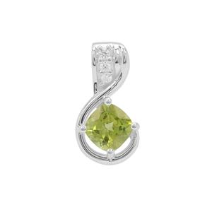 Red Dragon Peridot Pendant with White Zircon in Sterling Silver 1.75cts