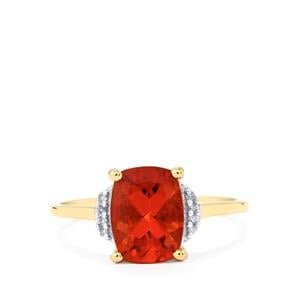 Tarocco Red Andesine Ring with Diamond in 10k Gold 1.67cts