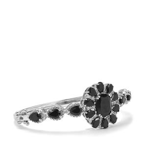 Black Spinel & White Zircon Sterling Silver Oval Bangle ATGW 19.90cts
