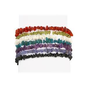 Kaleidoscope Gemstones Set of 7 Stretchable Nugget Bracelet 300cts