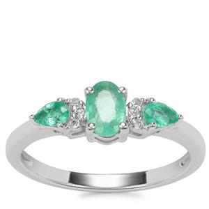 Zambian Emerald Ring with White Topaz in Sterling Silver 0.64cts
