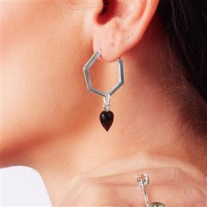 Molte Hex Hoop Earrings in Sterling Silver