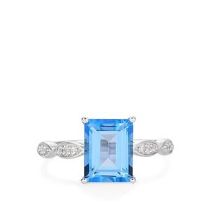 Azure Topaz Ring with White Topaz in Rhodium Flash Sterling Silver 2.53cts