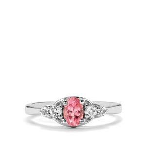 Pink Spinel Ring with White Topaz in Sterling Silver 0.72cts