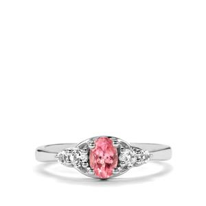 Pink Spinel & White Topaz Sterling Silver Ring ATGW 0.72cts
