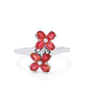 Pink Tourmaline & Diamond Sterling Silver Ring ATGW 1.21cts