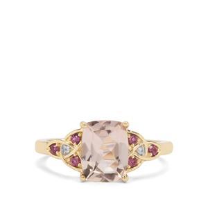 Alto Ligonha Morganite, Rhodolite Garnet & White Zircon 9K Gold Ring ATGW 1.93cts