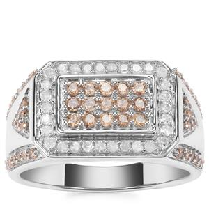 Champagne Diamond Ring with White Diamond in Sterling Silver 1.05ct