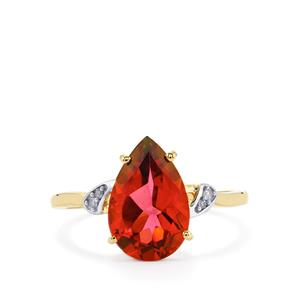 Cruzeiro Topaz Ring with Diamond in 10k Gold 3.44cts