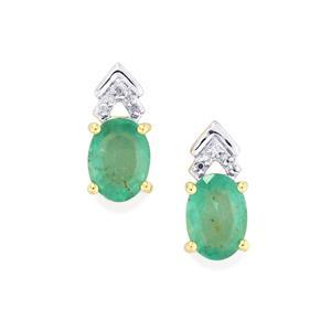 Zambian Emerald Earrings with Diamond in 10k Gold 1.47cts