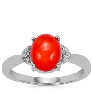 Ethiopian Red Opal Ring with White Zircon in Sterling Silver 1.20cts