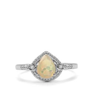 Ethiopian Opal & White Topaz Sterling Silver Ring ATGW 0.62cts