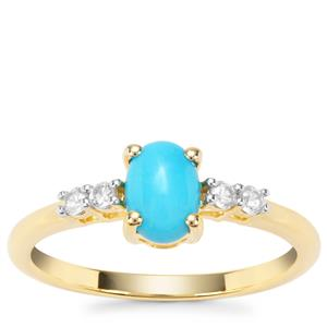 Sleeping Beauty Turquoise Ring with White Zircon in Gold Plated Sterling Silver 0.98ct
