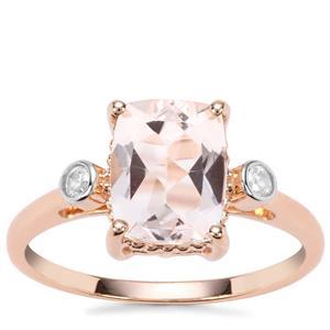 Alto Ligonha Morganite Ring with White Zircon in 9K Rose Gold 2.09cts