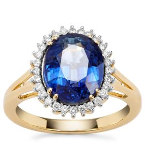 Nilamani  Ring with Diamond in 18K Gold 4.56cts