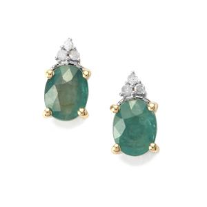 Grandidierite Earrings with Diamond in 9K Gold 1cts