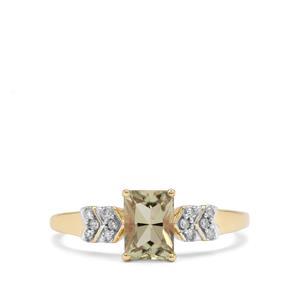 Csarite® & Diamond 9K Gold Ring ATGW 1.11cts