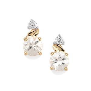 Singida Tanzanian Zircon Earrings with White Zircon in 10k Gold 2.16cts
