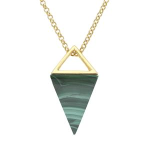 Malachite Pendant Necklace in Gold Plated Sterling Silver 37.45cts