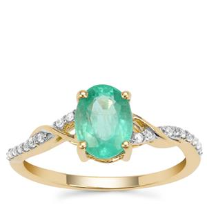 Siberian Emerald Ring with White Zircon in 9K Gold 1.34cts
