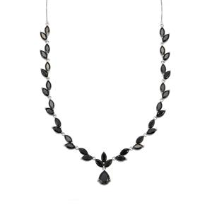 Black Spinel Necklace in Sterling Silver 29.62cts