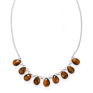 Yellow Tigers Eye Necklace in Sterling Silver 51cts