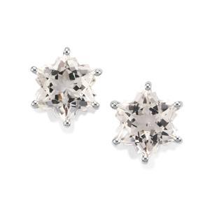 3.80ct Itinga Petalite 10K White Gold Wobito Snowflake Earrings