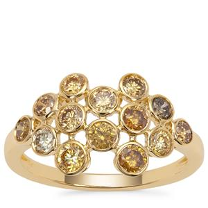 Multi-Colour Diamond Ring in 18K Gold 1.14cts