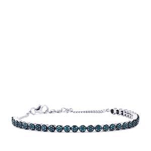 Blue Diamond Bracelet in Sterling Silver 1cts