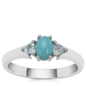 Sleeping Beauty Turquoise Ring with Sky Blue Topaz in Sterling Silver 0.75ct