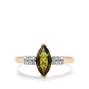 Chrome Tourmaline Ring with Diamond in 9K Gold 0.73ct