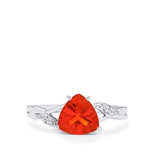 Tarocco Red Andesine & White Zircon 10K White Gold Ring ATGW 1.36cts