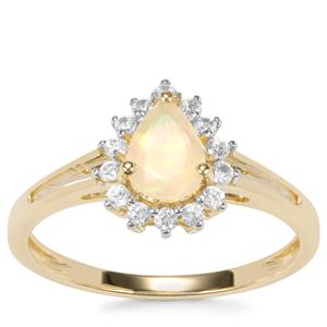 Ethiopian Opal Ring with White Zircon in 9K Gold 0.71ct