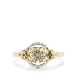 Csarite® & Green Diamond 9K Gold Ring ATGW 1.14cts