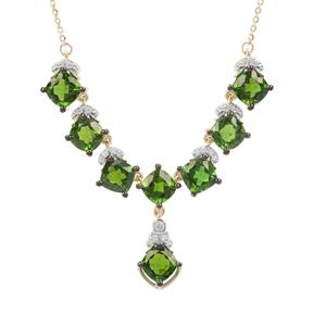 Chrome Diopside Necklace with White Zircon in 9K Gold 4.45cts