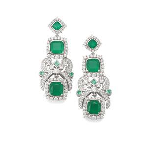 The Regal Chandelier Green Onyx & White Zircon Sterling Silver Earrings ATGW 10.96cts