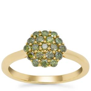 Green Diamond Ring in Gold Tone Sterling Silver 0.69ct