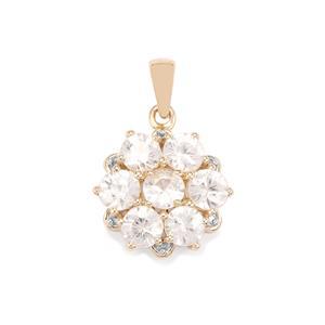 Singida Tanzanian Zircon Pendant with Diamond in 10k Gold 4.44cts